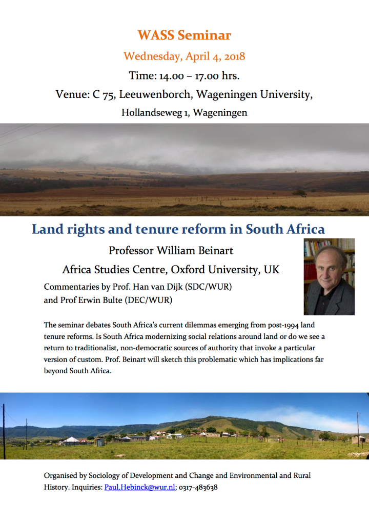 WASS Seminar: Land rights and tenure reform in South Africa